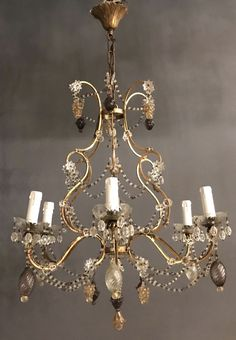 Excited to share this item from my #etsy shop: Antique Murano Fruit Chandelier, Vintage Italian Macaroni Beaded Chandelier, Crystal Chandelier, Wiring Comp USA, Free Shipping USA #lighting #purple #interiors #diningchandelier