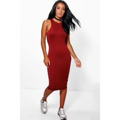 Boohoo Rosie Racer Cut Out Midi Dress ($10) ❤ liked on Polyvore featuring dresses, wine, white dress, white cocktail dresses, midi dress, white body con dress and white cut out dress