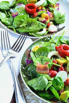 Sweet and Simple: Spinach Cobb Salad Taste Pin  Spring Salads for Mother's Day #tastepin #recipe #foodie #sweetandsimplemag