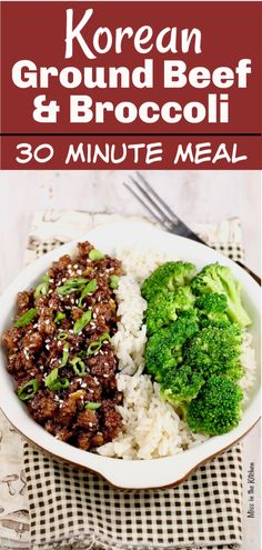Easy Korean Ground Beef and Broccoli is a delicious meal that comes together in about 30 minutes! Great flavors that the whole family can agree on. A great weeknight dinner to add to your menu! with ground beef dinner Easy Korean Ground Beef and Broccoli Healthy Ground Beef, Ground Beef Recipes For Dinner, Dinner With Ground Beef, Easy Dinner Recipes, Ground Beef Recipes Asian, Korean Beef Recipes, Korean Beef Bowl, Mexican Recipes, Easy Ground Beef Meals