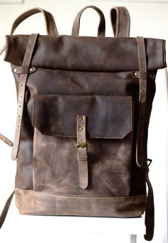 Leather backpack / zaino in vera pelle  big capacity di PiBuShop