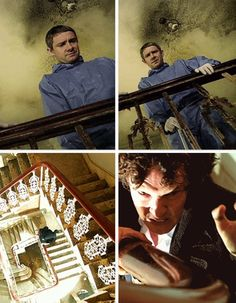 OMG. In the first episode, John was at the top of the stairwell. Now not only is Sherlock's mind palace the same place where they had their first case, but when he's dying, he's struggling his way back up to John. FEELS.