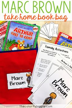 This Take Home Book Bag for Marc Brown is full of activities for elementary students as they read Arthur books.  Includes book recommendations, journal prompts, games, family activities and reading strategy practice sheets.  A great reading activity for families!