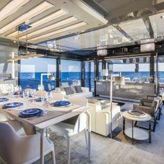 Mahari Joy floor lamps satin chorome   Nahoor   Designer William Pianta   Arcadia's Next-Gen 85S Eco-Friendly Yacht