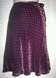 Free People Purple Rayon Silk Skirt with velvet squares Size 4 Anthropologie