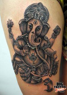 Ganesh Tattoo Designs | Tanya Buxton - Black and Grey Tattoo | Big Tattoo Planet