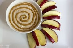 PB Yogurt Dip + Apple Slices: Vanilla, cinnamon, honey and peanut butter all mixed up with one of our fave ingredients, Greek yogurt! Whip up this dip when you need to indulge your sweet tooth! At 139 calories for an apple with 2 Tbsp of the dip, you can love it with no regrets!