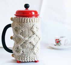 Tea/Coffee Press Cozy hand knit fits 6-8 cups standard French Press coffeemaker with 4 inch diameter. Perfect for home and office, excellent as a gift.
