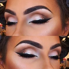 Love a simple glam using @makeupgeekcosmetics shadows and @urbandecaycosmetics silver glitter liner X