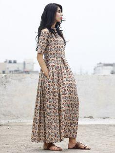 Beige Maroon Blue Black Hand Block Cotton Dress With Cold Shoulder And Side Pockets -  D80F779