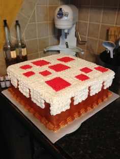 - Minecraft cake from the game marble cake with buttercream