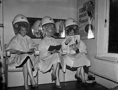 Salon in Oswestry England 1957 Vintage Hairdresser, Vintage Hair Salons, Brylcreem, Natural Red Hair, Bleach Blonde Hair, Hair Romance, History Timeline, Love Your Hair, Popular Haircuts