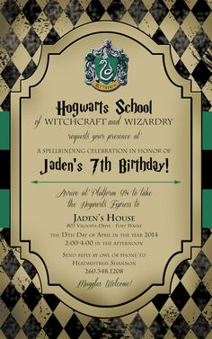 Harry Potter Birthday Invitation by lifeonpurpose on Etsy
