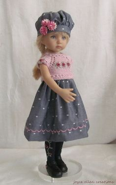 "13"" Dianna Effner Little Darling Fashion mauve & gray dress OOAK handmade by JEC #JoyceEllenCreations"