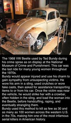 The 1968 VW Beetle used by Ted Bundy during his crime spree as on display at the National Museum of Crime and Punishment. This car was the last ride for many young women throughout the Bundy would appear injured and use his charm to gain sympathy fro Ted Bundy, Criminal Justice, Criminal Minds, Creepy Facts, Fun Facts, Creepy Things, Famous Murders, Famous Serial Killers, Murder Mysteries