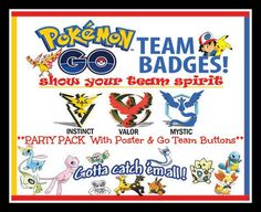 $3. Pokemon Go Team PARTY PACK With 54 Button Pack