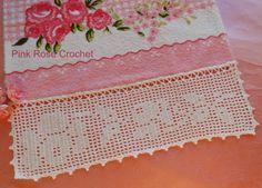 \ PINK ROSE CROCHET /: Barra com Flor Rosa em Crochê Filet para Toalha de Rosto