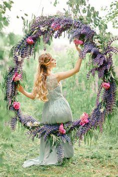 Bluebell Indigo Violet for A Wedding Anniversary Filled with Greenery Giant Wreath   fabmood.com #giantwreath #weddingwreath #bluebell #indigowedding #outdoorwedding #weddinginspiration