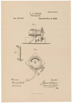 T.A. Edison's drawing for a phonograph. It was patented on May 18, 1880.  National Archives Identifier: 595515