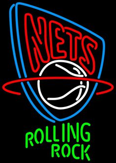 Rolling Rock New Jersey Nets NBA Neon Beer Sign, Rolling Rock with NBA Neon Signs | Beer with Sports Signs. Makes a great gift. High impact, eye catching, real glass tube neon sign. In stock. Ships in 5 days or less. Brand New Indoor Neon Sign. Neon Tube thickness is 9MM. All Neon Signs have 1 year warranty and 0% breakage guarantee.