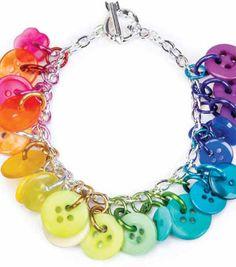 Rainbow Button Bracelet | Button Bracelet | Charm Bracelet | Create your own bracelet using buttons from @J O-Ann Fabric and Craft Stores