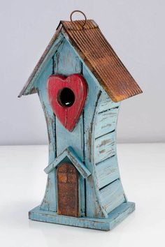 Red Heart Tall Birdhouse