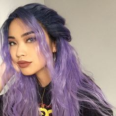Blue Wigs Lace Hair Lace Frontal Wigs Natural Looking Short Wigs Transparent Lace Wig On Dark Skin African American Human Hair Wigs Hair Dye Colors, Cool Hair Color, Violet Hair Colors, Hair Inspo, Hair Inspiration, Aesthetic Hair, Aesthetic Makeup, Dye My Hair, Tip Dyed Hair