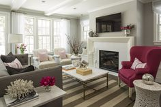 Kellogg Road | Martha O'Hara Interiors - LIKE THE POP OF COLOR!