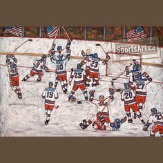 This large canvas captures one of the greatest upsets in sports history. At the peak of the Cold War, the American hockey team defeated the Soviets at the 1980 Lake Placid Olympics. Days later, they completed their 'miracle' with a Gold medal victory. Usa Hockey, Hockey Teams, Lake Placid Olympics, Usa Gold, Sports Art, Large Canvas, Cold War, Artsy Fartsy, Nhl