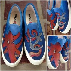Daddy Octopus - TinTon's Handpainted Shoes -  Visit us  @ https://facebook.com/tintonsshoes Http://i.instagram.com/tintonsshoes/ For more shoe designs :D - Handpainted . Personalized . Customized Shoes - By: Tin & Ton