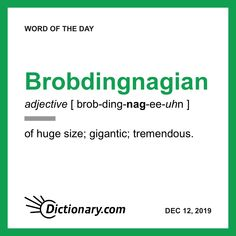 Word of the Day - Brobdingnagian Interesting English Words, Unusual Words, Rare Words, New Words, Cool Words, English Vocabulary Words, English Phrases, Learn English Words, Dictionary Words