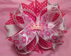 Princess bow pink bow white bow. Bow for toddlers, bow for babies, bow for little girls by TiffsGlitzBoutique on Etsy