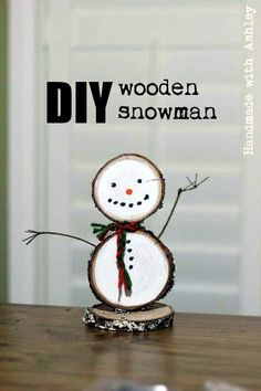 How to make a DIY Wooden Snowman using wood slices and paint. Only takes about 30 minutes to make! Half-Hour Holiday Challenge