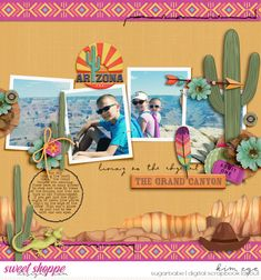 Digital scrapbook layout using 50 States Arizona by Kelly Bangs Creative; and Anywhere: Clusters by Grace Lee (found at Sweet Shoppe Designs)