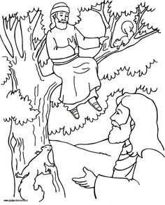 find this pin and more on bijbelse kleurplaten chapter 16 zacchaeus and jesus coloring page