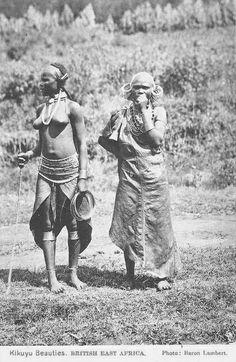 "Africa   ""Kikuyu Beauties"". British East Africa    Scanned vintage postcard; photo Baron Lambert"