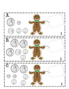 Here's a gingerbread man shopping activity. Count the coins and match the appropriate price tag.