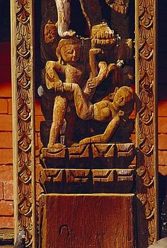 Erotic carving, Pashupatinath Temple, Durbar Square, Bhaktapur, Nepal