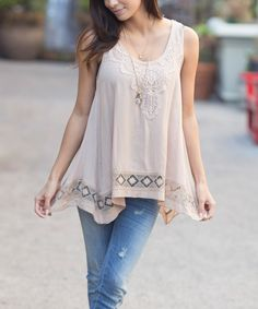 Another great find on #zulily! Pinkblush Mocha Crochet Swing Tank by Pinkblush #zulilyfinds