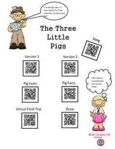 FACT OR FICTION WITH THE THREE LITTLE PIGS USING QR CODES - -K-2nd $ Good way for students to learn about fact or fiction! Great for differentiated instruction, early finishers, workshops, and much more. QR QUEENS