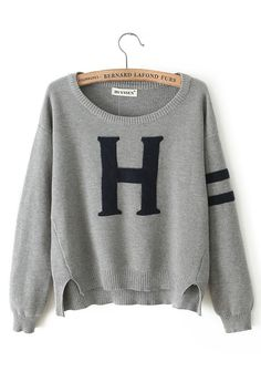 Grey Letter Print Round Neck Loose Knit Sweater