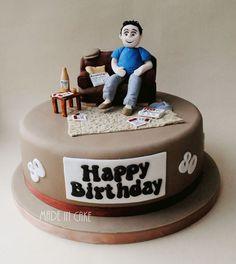 Beer, whiskey, betting, sofa, birthday cake Dad Birthday Cakes, 60th Birthday Party, Happy Birthday, Gym Cake, Whiskey Cake, Tortellini Recipes, Fathers Day Cake, Angel Cake, Novelty Cakes