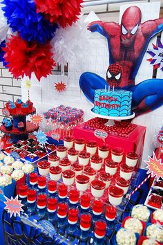 Xavi's The Amazing Spiderman Dessert table! by Yummy Piece of Cake, via Flickr