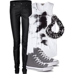 Style / outfit / punk / emo / rock / scene / girl / converse / black / grey