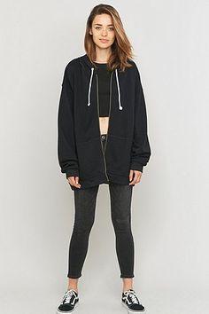 9fb874cac Sparkle & Fade Oversized Black Hoodie - Urban Outfitters Cropped Hoodie,  Black Hoodie, Ladies
