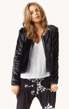 """all-black-all-the-time: """" Vegan Fur Jacket Heart it on Wantering and get an alert when it goes on sale. """""""