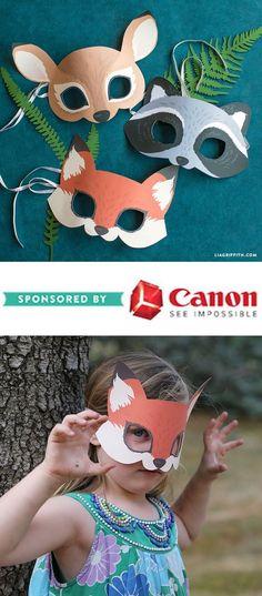 Printable Woodland Animal Masks - www.liagriffith.com #spons #diyinspiration #diyproject #diyprojects #diyidea #diyideas #papercraft #papercrafting #printables #canonusa #madewithlia