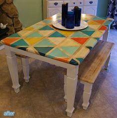 DIY Triangle Pattern Kitchen Tabletop ~ Maybe not the triangles or those colours, but maybe some stripes an aqua, red, cream and brown? Homemade Kitchen Tables, Kitchen Table Makeover, Diy Kitchen, Hutch Makeover, Furniture Makeover, Diy Furniture, Furniture Design, Painted Table Tops, Painted Kitchen Tables