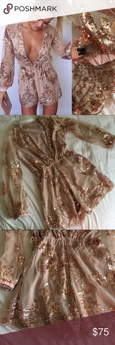NWT ❤️ GORGEOUS EMBELLISHED ROMPER size medium Lots of embellished detail on this romper no holes rips or flaws. Fully lined & Front and back are embellished.   Fits like a Jr medium. Or a woman 4/6  Perfect for birthday New Years or a wedding.   Measurement photos added. It has belt loops but no belt was included with purchase and they can easily be snipped off with scissors.   28 inch torso 3 inch short  16 inches top to waist 12 inch waist flat (stretchy) 26 inch arm  Ships same or next…