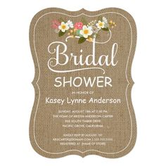 Rustic Burlap Floral Wreath Bridal Shower 5x7 Paper Invitation Card
